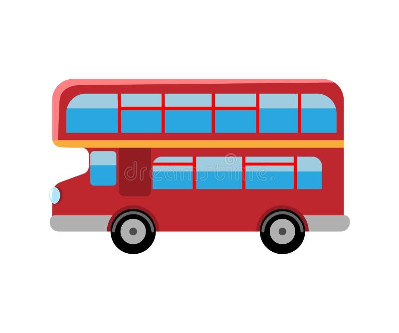 Ônibus do vermelho de Londres Ônibus retro do ônibus de dois andares Ilustração lisa do vetor ilustração royalty free