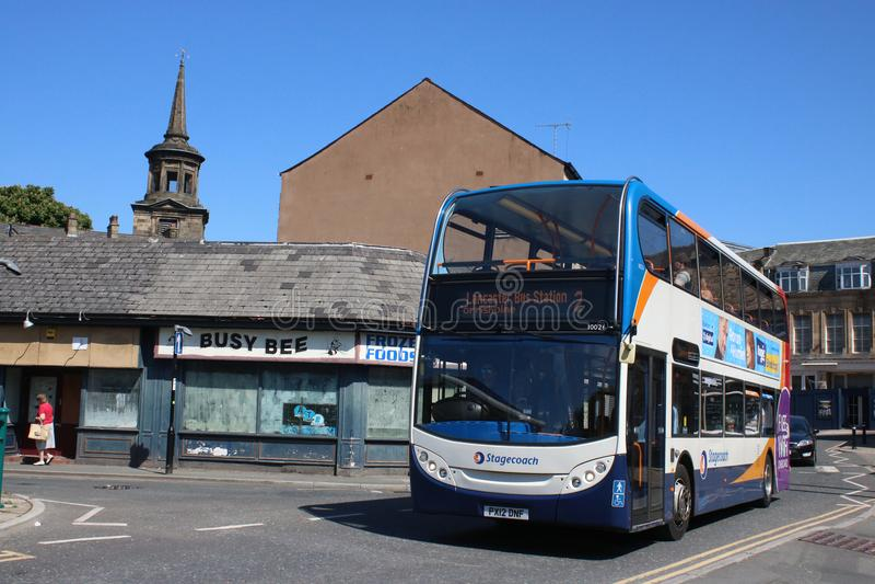 Ônibus dobro do Stagecoach da plataforma, estação de ônibus de Lancaster imagens de stock