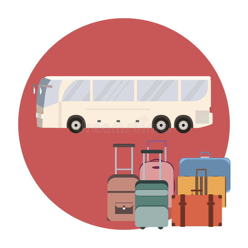 Ônibus e bagagem do curso ilustração do vetor