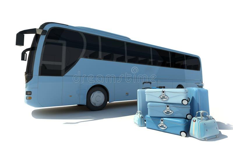 Ônibus e bagagem do treinador ilustração royalty free