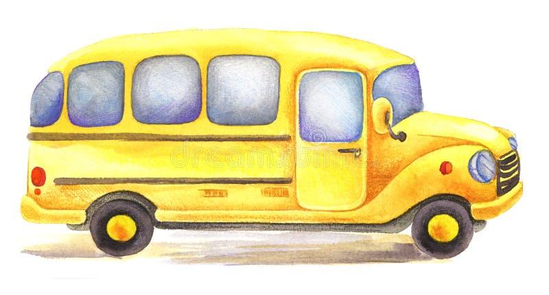 Ônibus escolar amarelo da aquarela conduzido na direção certa ilustração stock