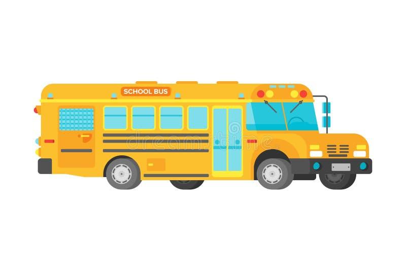 Ônibus escolar amarelo do vetor no estilo liso ilustração do vetor