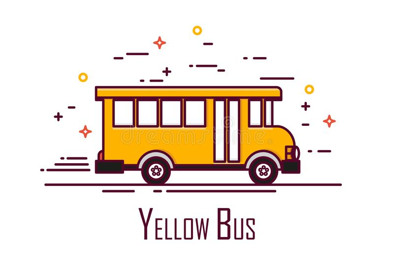 Ônibus escolar amarelo no fundo branco Linha fina projeto liso Engrena o ícone ilustração royalty free