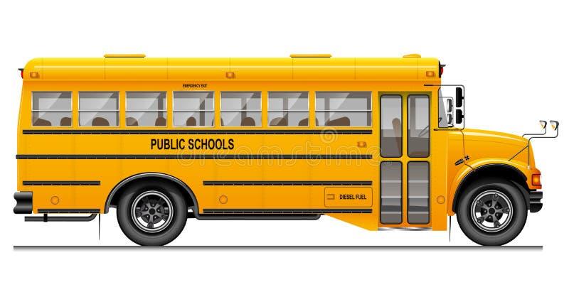 Ônibus escolar clássico amarelo Vista lateral Instrução americana Imagem tridimensional com detalhes com cuidado seguidos ilustração royalty free