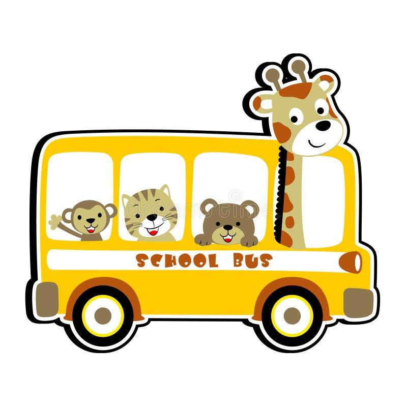 Ônibus escolar com animais bonitos, ilustração dos desenhos animados do vetor ilustração do vetor