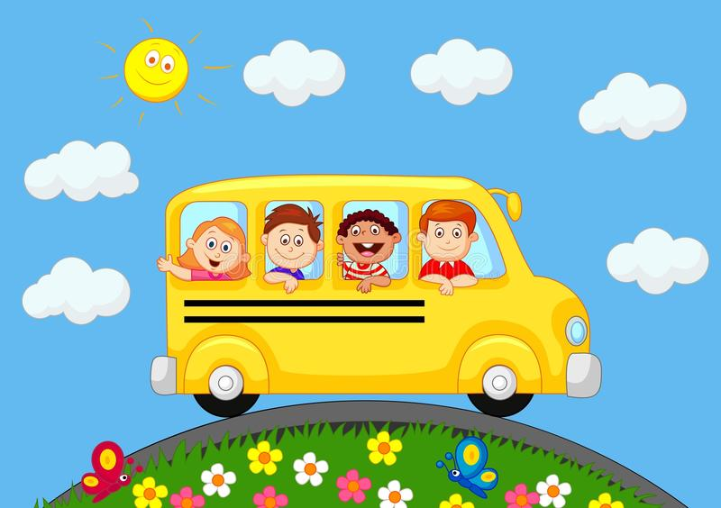 Ônibus escolar com desenhos animados felizes das crianças ilustração royalty free