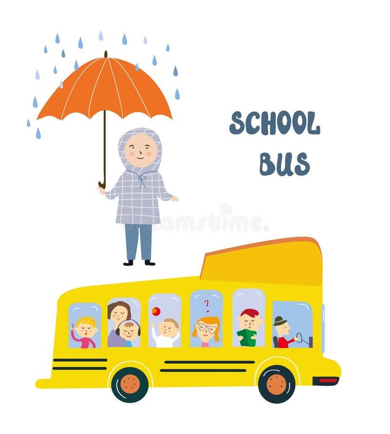 Ônibus escolar e criança na parada sob a chuva - conceito da segurança e da proteção, ilustração gráfica ilustração stock