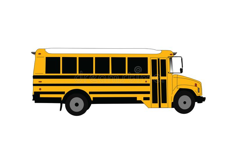 Ônibus escolar isolado na ilustração branca do vetor ilustração stock