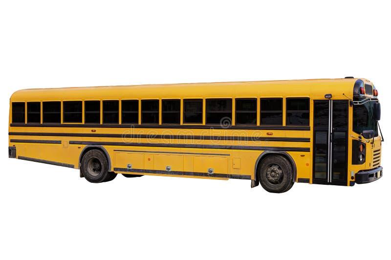 Ônibus escolar tradicional, isolado no fundo branco imagens de stock