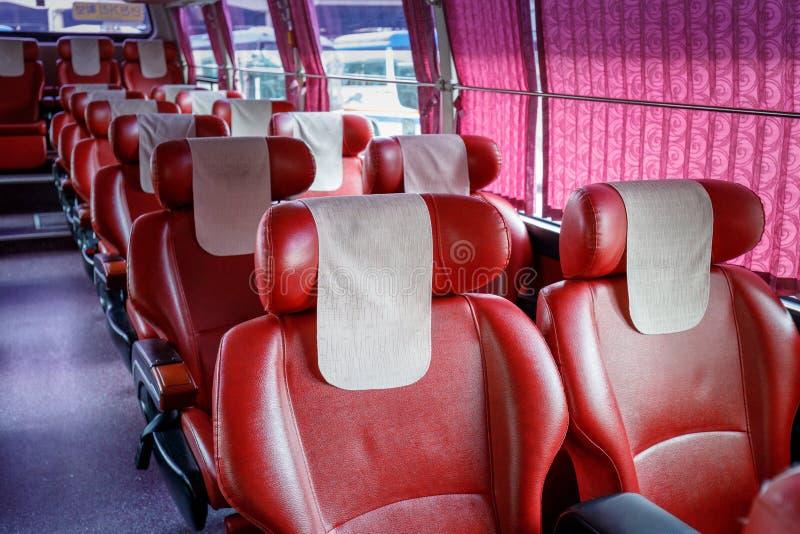 Ônibus expresso do interior dos assentos na cidade de Seoul imagem de stock royalty free