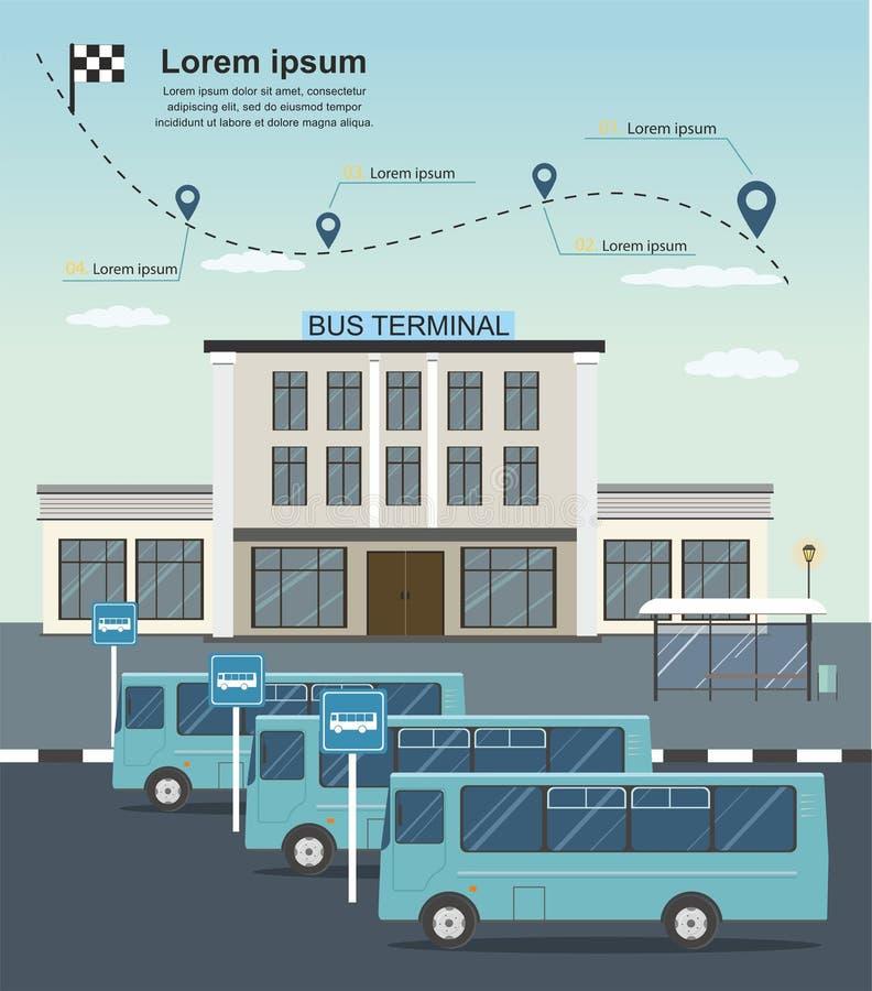 Ônibus na estação terminal de ônibus Infographics do transporte fotos de stock royalty free