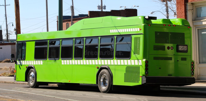 Ônibus verde da cidade imagem de stock