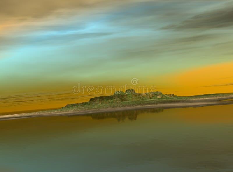 ö över havssolnedgång fotografering för bildbyråer