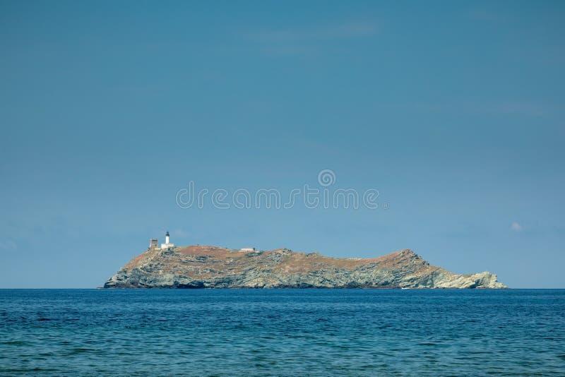 Ö av Giraglia på nordlig spets av Korsika royaltyfria bilder