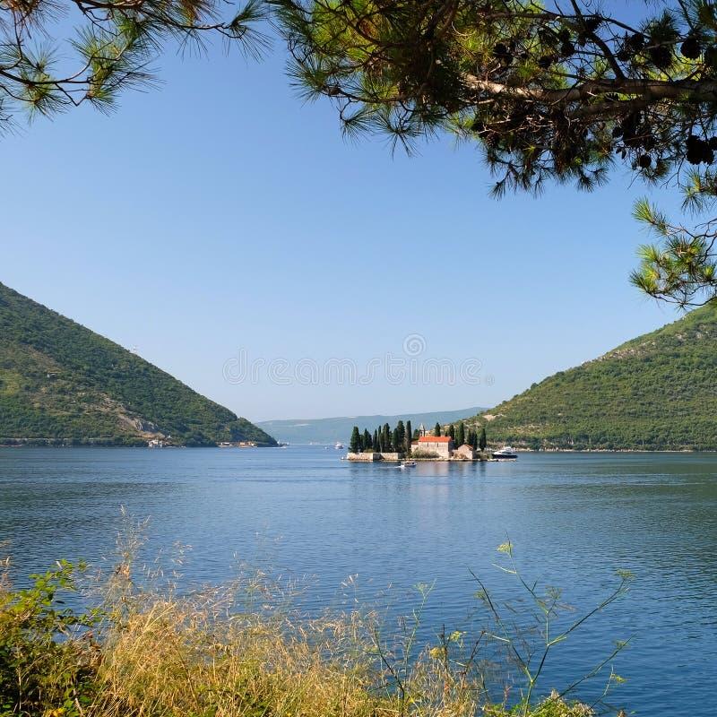 Ö av St George, Kotor fjärd, Montenegro arkivfoto