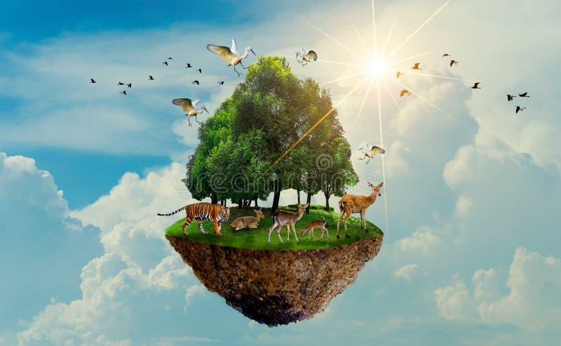 Ö för fågel för hjortar för tiger för djurliv för skogträd som svävar i dagen för jord för dag för beskydd för värld för dag för  royaltyfri illustrationer