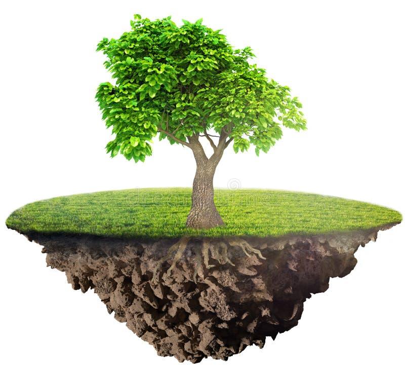 Ö för grönt gräs med trädet royaltyfri illustrationer