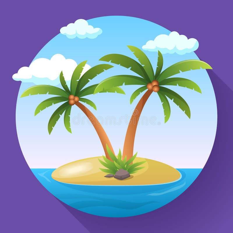 Ö för hav för ferie för sommarsemester tropisk med illustrationen för palmträdlägenhetvektor vektor illustrationer