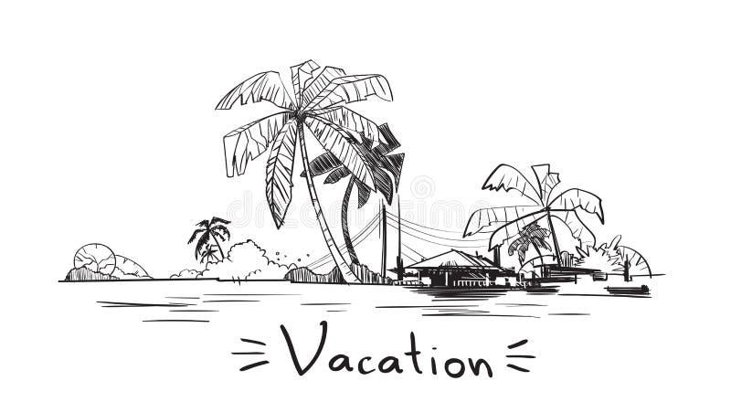 Ö för hav för ferie för sommarsemester tropisk med palmträdet vektor illustrationer