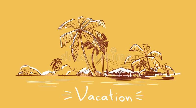 Ö för hav för ferie för sommarsemester tropisk med palmträdet stock illustrationer