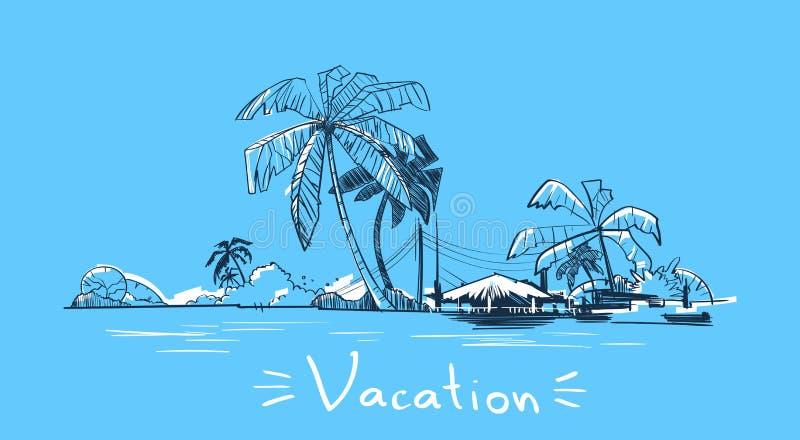 Ö för hav för ferie för sommarsemester tropisk med palmträdet royaltyfri illustrationer