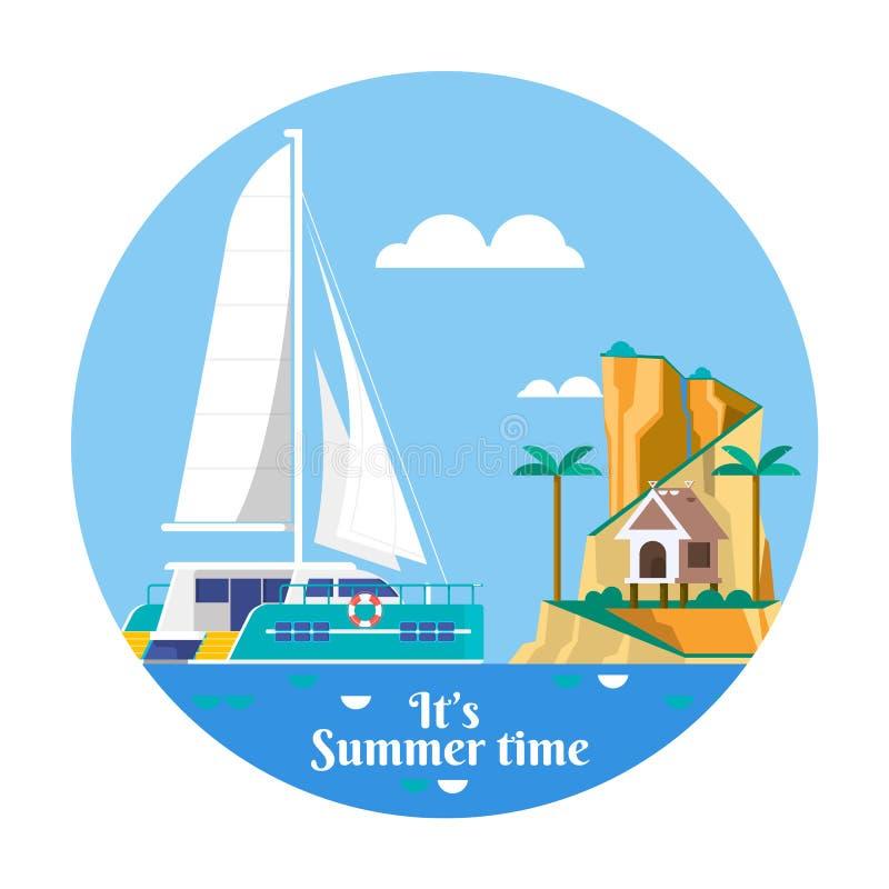 Ö för hav för ferie för sommarsemester tropisk med palmträdet också vektor för coreldrawillustration stock illustrationer