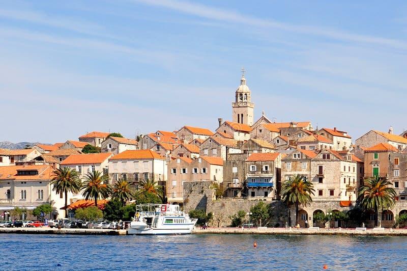 Ö för KorÄ ula, Kroatien arkivfoton