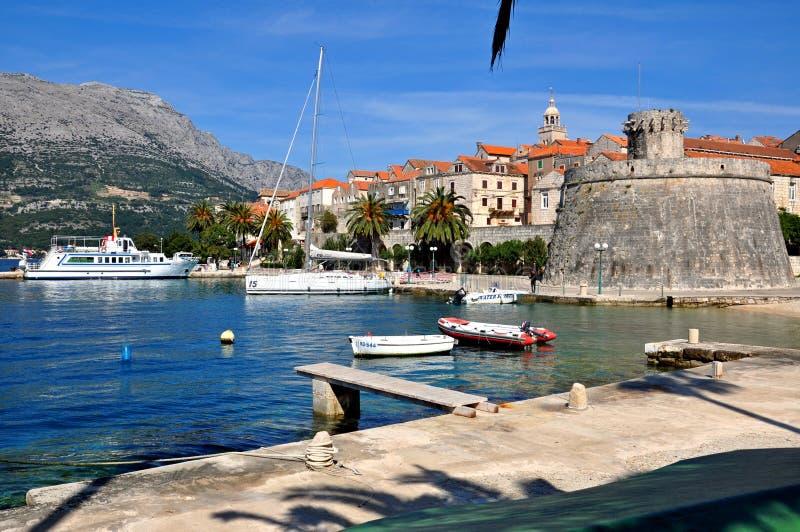 Ö för KorÄ ula, Kroatien arkivfoto