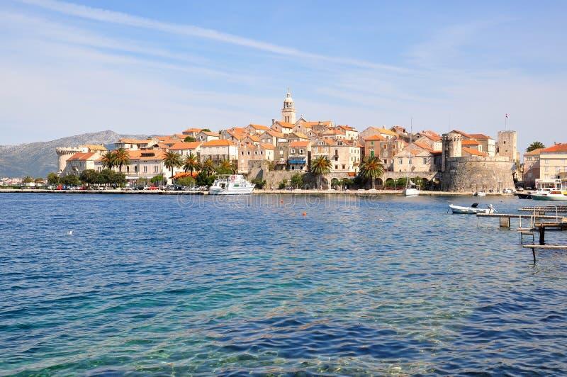 Ö för KorÄ ula och stad, Kroatien royaltyfri bild