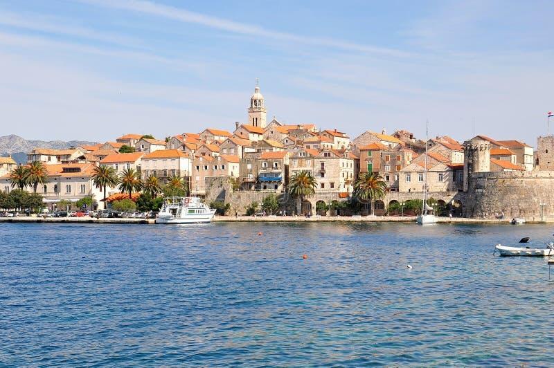 Ö för KorÄ ula och stad, Kroatien arkivbild