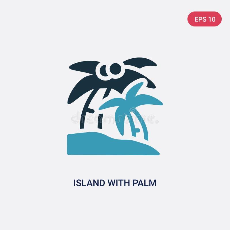 Ö för två färg med palmträdvektorsymbolen från sommarbegrepp den isolerade blåa ön med symbol för palmträdvektortecken kan vara vektor illustrationer