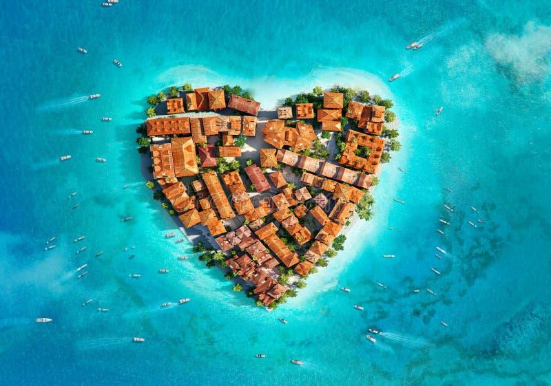 Ö i formen av hjärta, flyg- sikt stock illustrationer