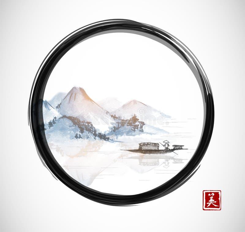 Ö med berg och fiskebåten i svart ensozencirkel royaltyfri illustrationer