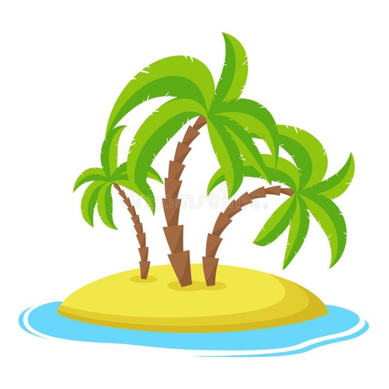 Ö med palmträd isolaed på vit bakgrund, hav för ferie för sommarsemester tropiskt vektor illustrationer