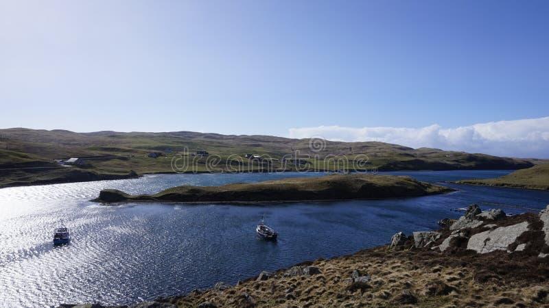 Ö nära den Muckle fiskromen, Shetland arkivfoton