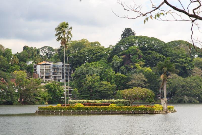 Ö på sjön Kandy - Sri Lanka royaltyfri fotografi