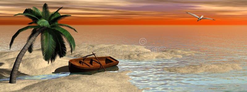 Ö vid solnedgång - 3D framför royaltyfri illustrationer