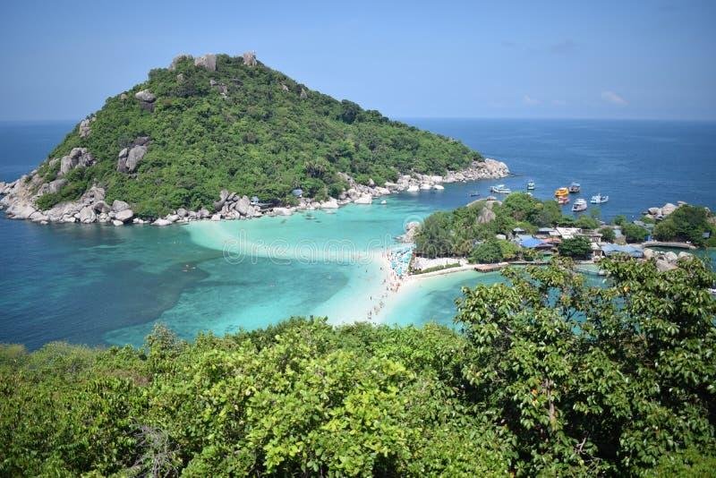 3 öar förbindelse av sand, Koh Tao royaltyfria foton