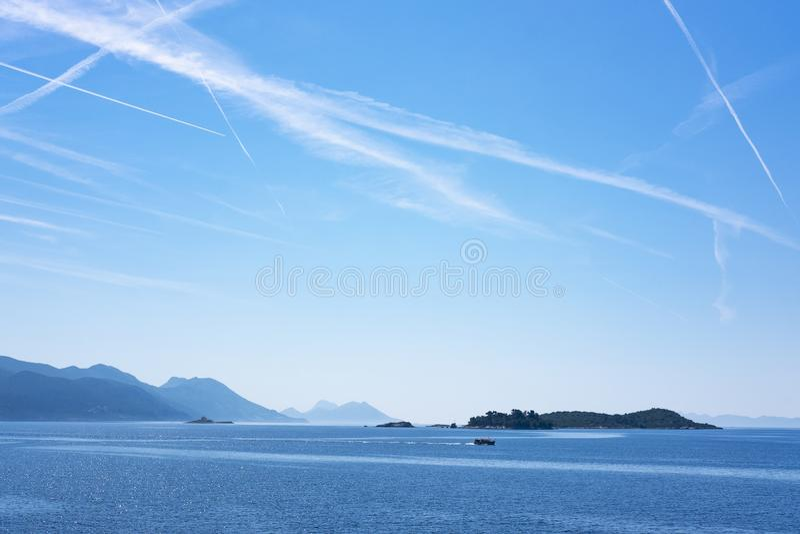 Öar nära Korcula, Dalmatia royaltyfria foton