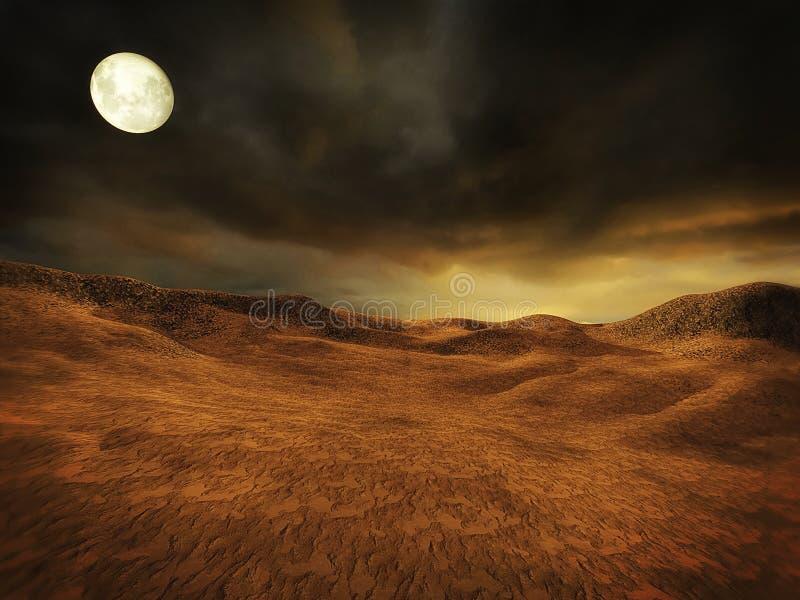 Öde landskap med månen stock illustrationer