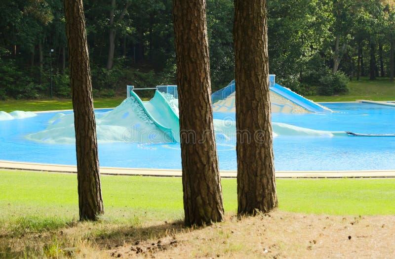 Öde utvändig simbassäng i en skog royaltyfria bilder