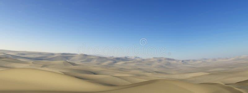 Ödelägga den panorama- panoramaillustrationen för öknen stock illustrationer