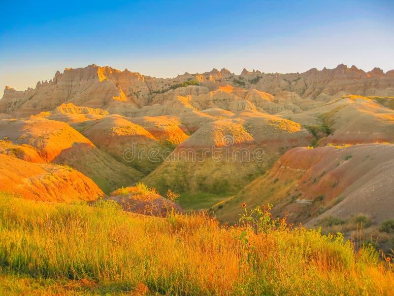 Ödländer South Dakota bei Sonnenuntergang stockfotos