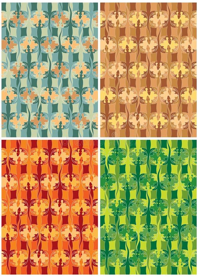 ödla för färger fyra stock illustrationer