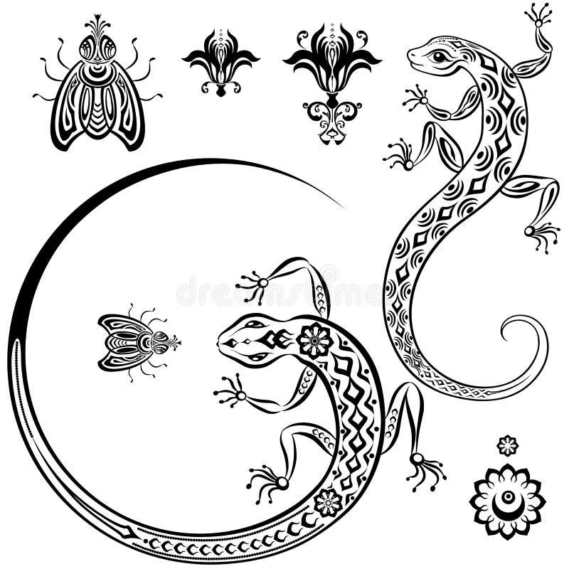 Ödla, fluga och lilja vektor illustrationer