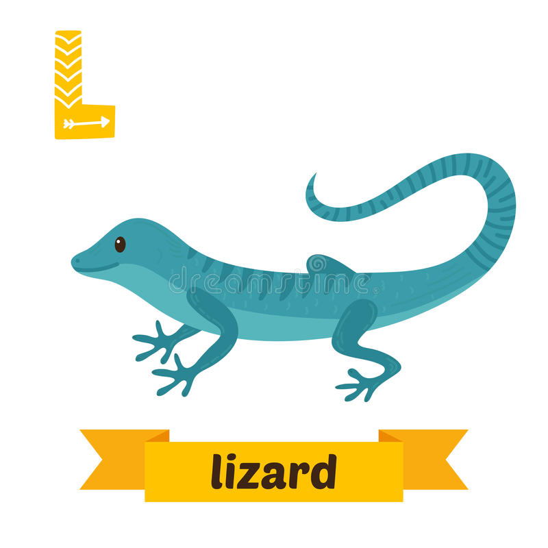 Ödla l bokstav Djurt alfabet för gulliga barn i vektor roligt stock illustrationer