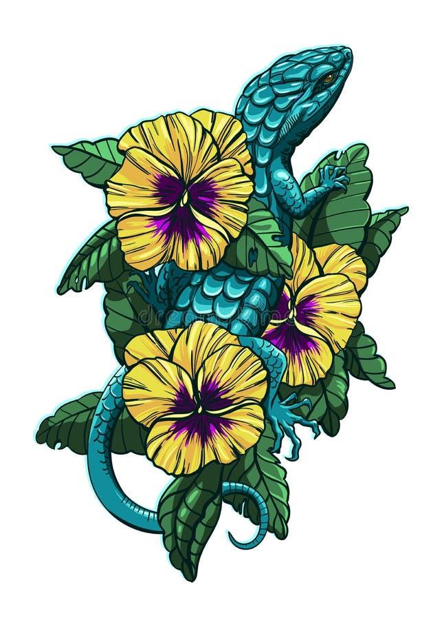 Ödla på blommor vektor illustrationer