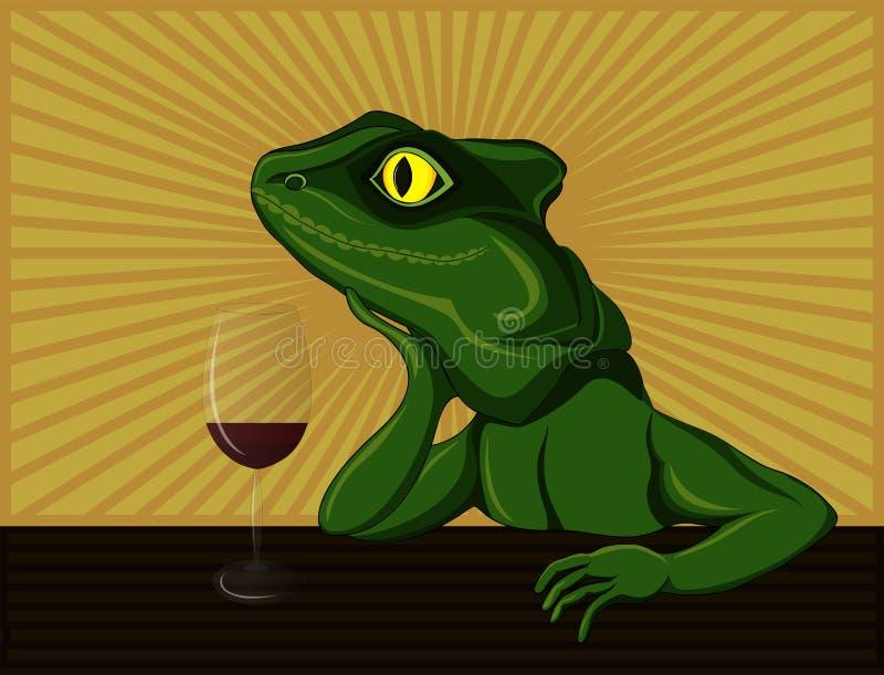 Ödla som drömmer och dricker rött vin Illustration för popkonst Smi royaltyfri illustrationer