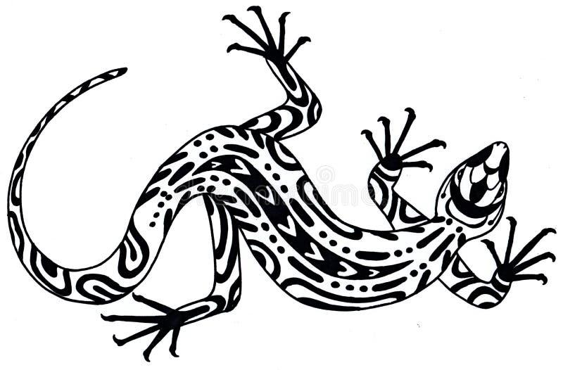 Ödla - teckning i etnisk stil illustratören för illustrationen för handen för borstekol gör teckningen tecknade som look pastell  vektor illustrationer