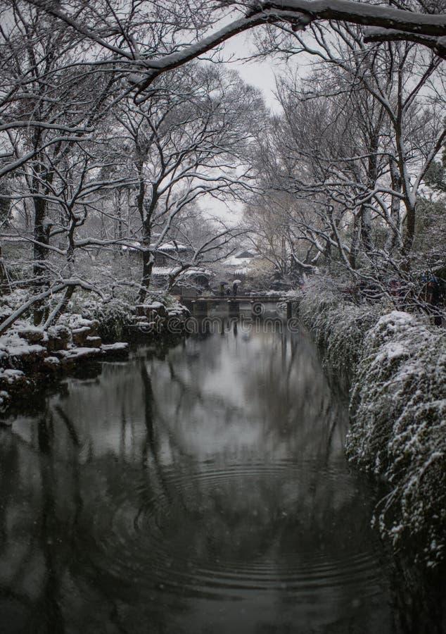 Ödmjukt administratörs trädgårddamm i snö, forntida suzhou, porslin arkivfoto